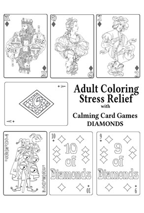 Adult Coloring Stress Relief with Calming Card Games DIAMONDS
