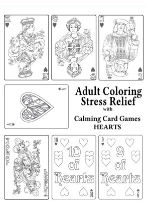 Adult Coloring Stress Relief with Calming Card Games HEARTS
